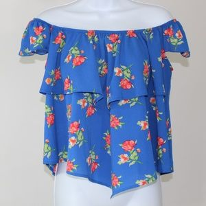 Blue red floral off the shoulder blouse layered